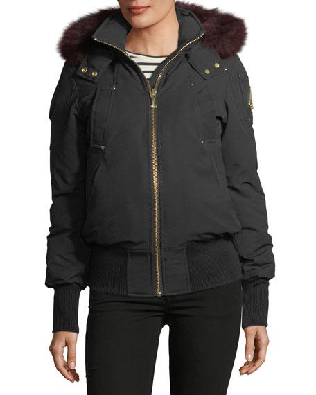 Moose Knuckles Latreille Zip-Front Bomber Jacket w/ Fur