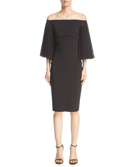Chiara Boni La Petite Robe Off-the-Shoulder Full-Sleeve Sheath