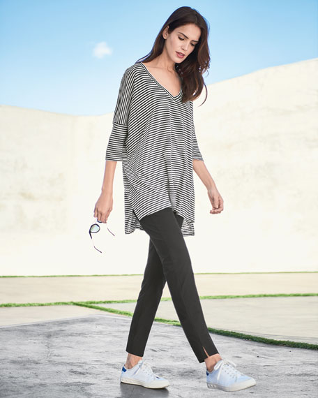 Image 2 of 3: Eileen Fisher Striped Organic Linen Jersey V-Neck Tunic