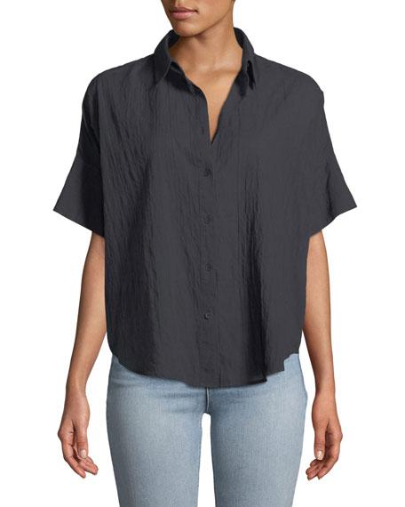 Button-Front Short-Sleeve Tie Shirt