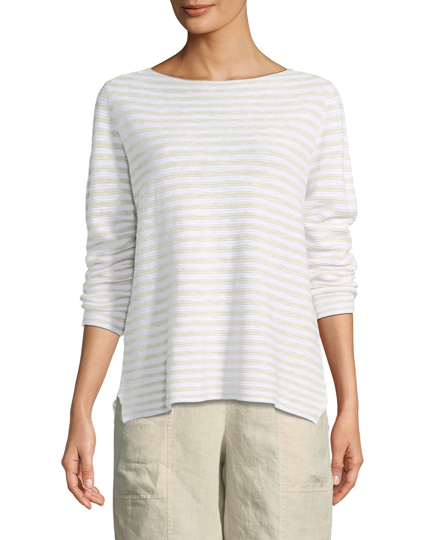3fcd9127df9 Eileen FisherStriped Long-Sleeve Organic Linen Cotton Sweater