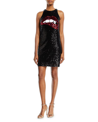 Sequin Biting Lips Tank Mini Cocktail Dress