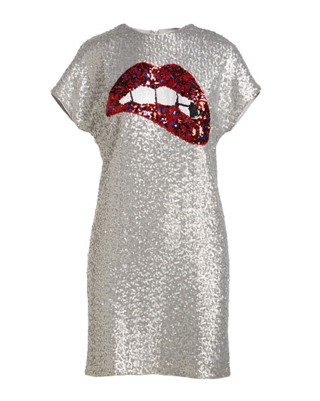Aidan by Aidan Mattox Sequin Short-Sleeve Biting Lips Cocktail Dress