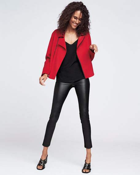 Luxury Double-Faced Cashmere Moto Jacket