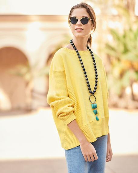 Neon Buddha Petite South Beach Pullover Sweater w/ Asymmetric Hem