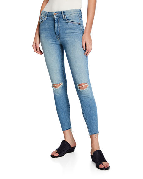 Image 1 of 4: Looker High-Waist Frayed Ankle Skinny Jeans