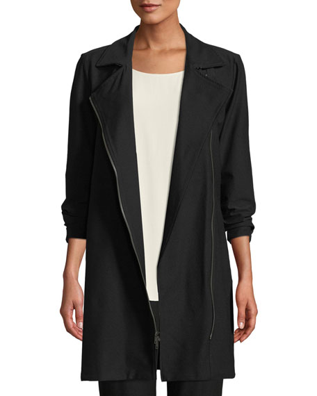 Eileen Fisher Washable Stretch Crepe Moto Jacket