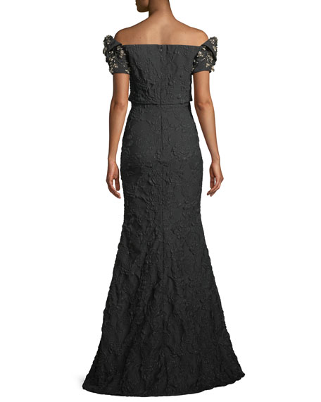 Badgley Mischka Collection Stretch Jacquard Trumpet Gown with Beaded Sleeves