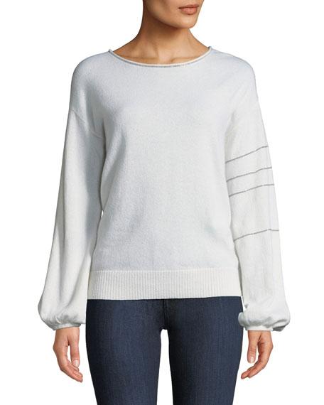 Neiman Marcus Cashmere Collection Cashmere Blouson-Sleeve Sweater