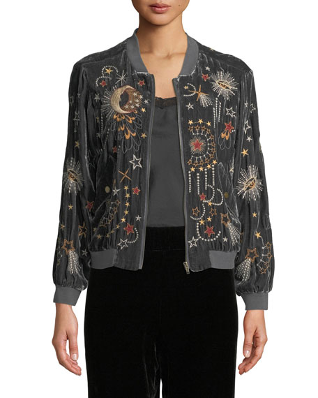 Johnny Was Calisto Embroidered Velvet Bomber Jacket