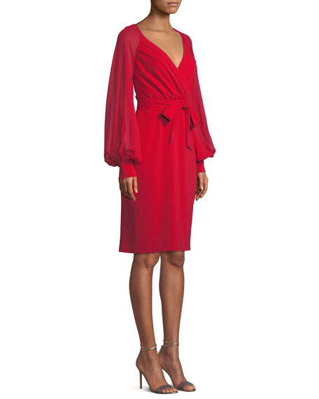 Image 4 of 4: Badgley Mischka Collection V-Neck Blouson-Sleeve Faux-Wrap Cocktail Dress