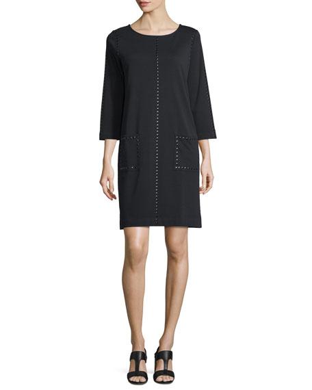 Joan Vass Plus Size Long-Sleeve Embellished Shift Dress