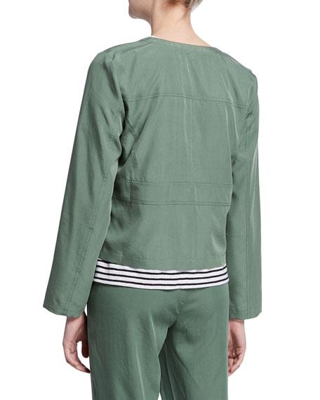 Eileen Fisher Petite Sandwashed Long-Sleeve Short Jacket