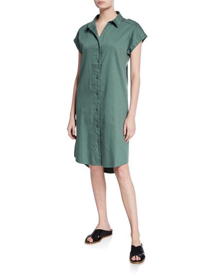 Eileen Fisher Plus Size Organic Cotton Twill Cap-Sleeve Long Shirtdress