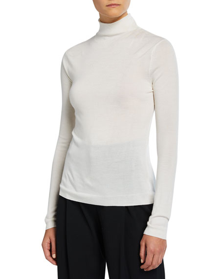 Image 1 of 2: Shrunken Merino Wool/Silk Turtleneck Sweater