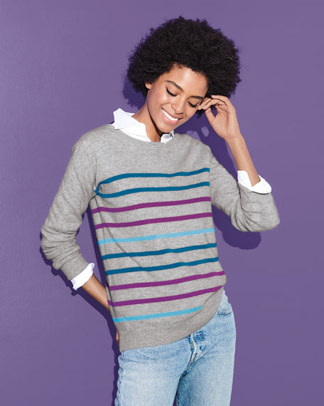 Neiman Marcus Cashmere Collection Cashmere Multicolor Striped Sweater