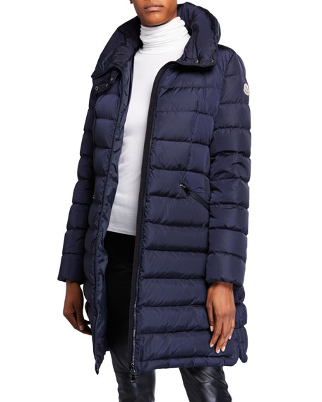 Moncler Flammette Puffer Coat w/ Packable Hood
