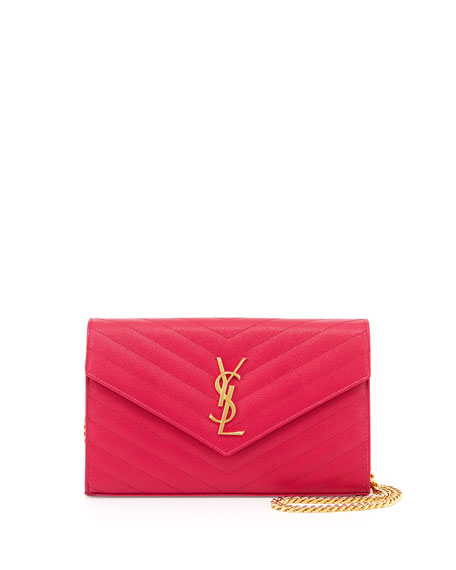 Saint Laurent Monogram Matelasse Shoulder Bag, Fuchsia