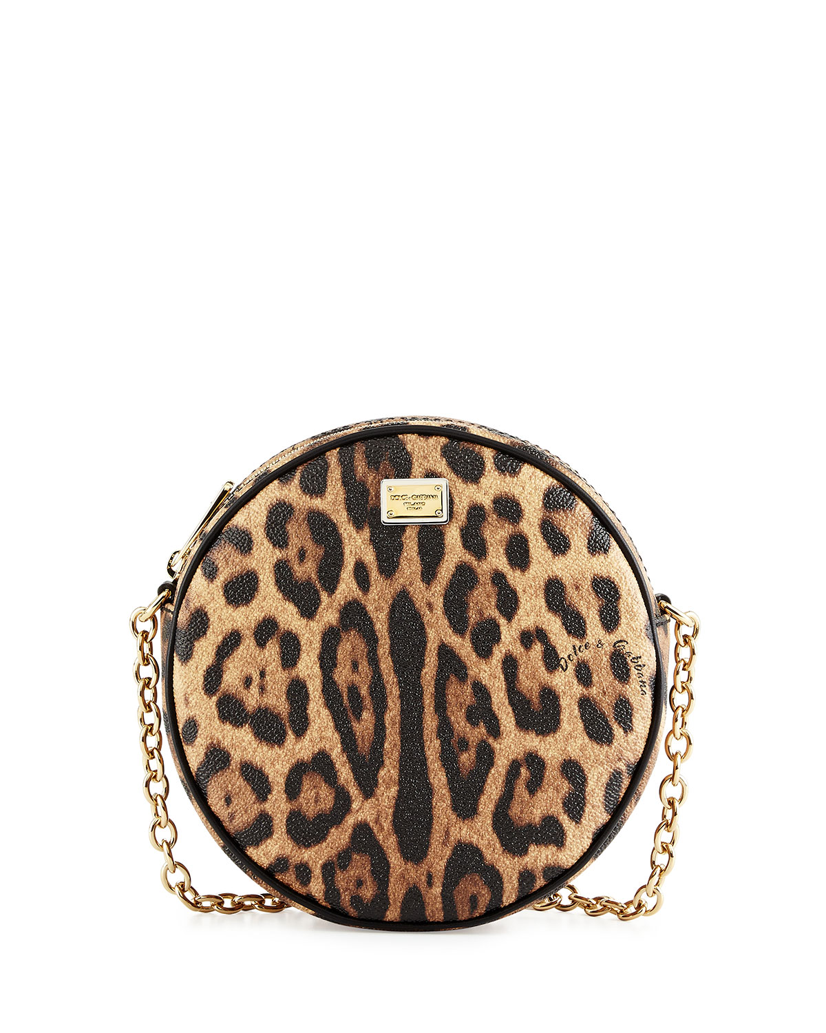 Glam Leopard Print Round Crossbody Bag