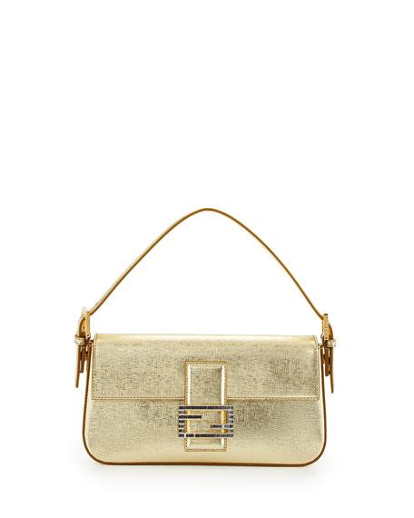 Fendi Metallic Leather Baguette Shoulder Bag, Gold