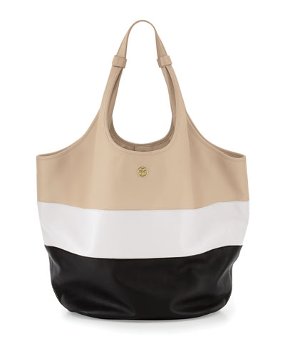 Medium Slouchy Hobo Bag, Wheat/Ivory/Black
