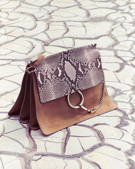 Image 2 of 5: Faye Python Flap Shoulder Bag