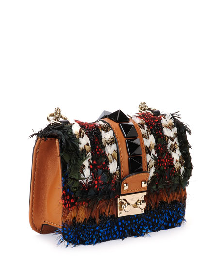 Feather Mini-Lock Shoulder Bag, Multicolor