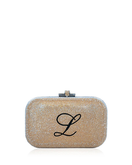 Monogram Crystal Slide-Lock Clutch Bag, Champagne