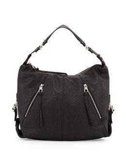 Lauren Leather Hobo Bag, Black