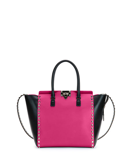 Valentino Rockstud Medium Shopper Bag, Pink/Black