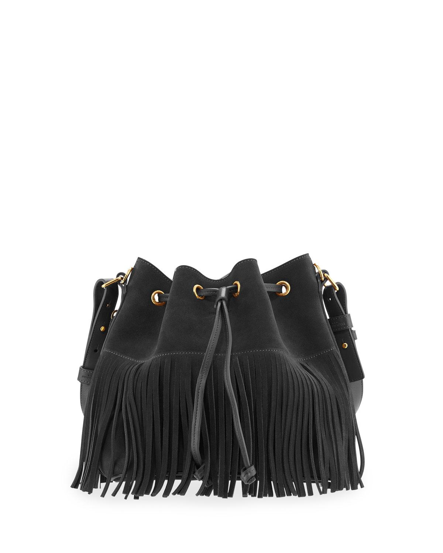 4ff28ac2d5 Saint Laurent Emmanuelle Small Suede Fringe Bucket Bag