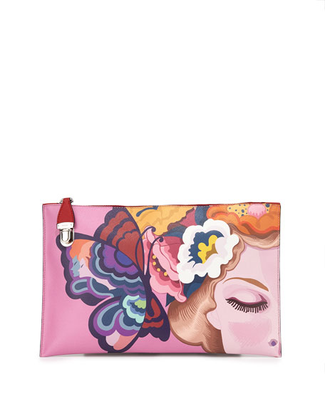 Prada Saffiano Print Butterfly Clutch Bag, Multi (Rosso dis Butterfly)