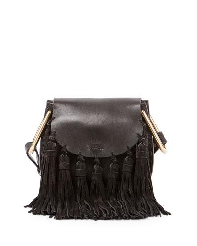 Hudson Mini Fringe Shoulder Bag, Black