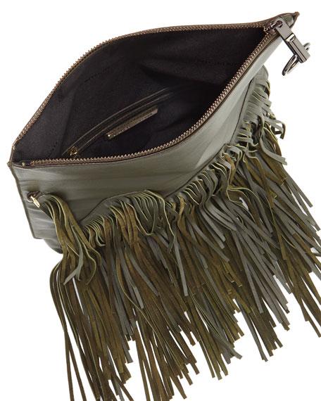 Andrew Fringe Fold-Over Crossbody Bag, Deep Olive