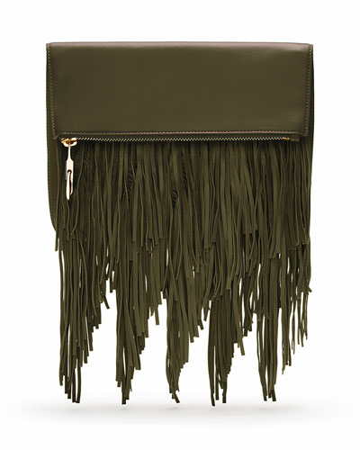 Andrew Fold-Over Fringe Clutch Bag, Deep Olive
