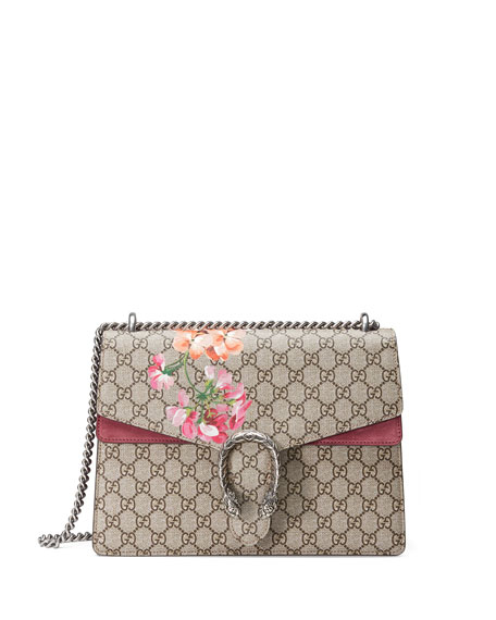 Gucci Testa Tigre Medium Geranium GG Blooms Shoulder