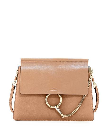 Chloe Faye Medium Leather Shoulder Bag, Tan