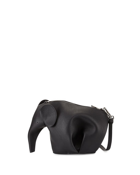 Loewe Leather Elephant Mini Bag, Black