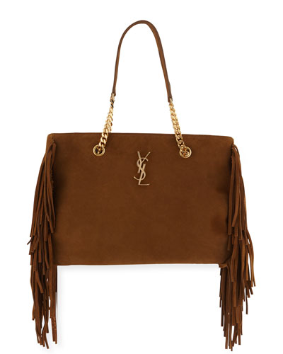 Monogram Fringe Suede Chain-Strap Shopping Tote Bag, Tan