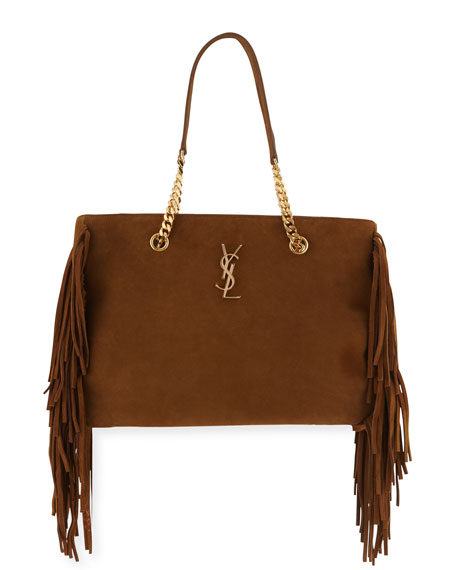 Saint Laurent Monogram Fringe Suede Chain-Strap Shopping Tote Bag, Tan