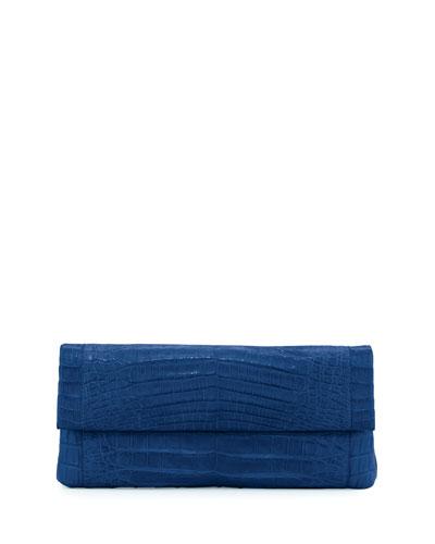 Gotham Crocodile Flap Clutch Bag, Blue Matte
