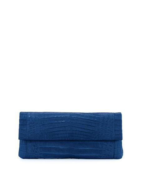 Nancy Gonzalez Gotham Crocodile Flap Clutch Bag, Blue