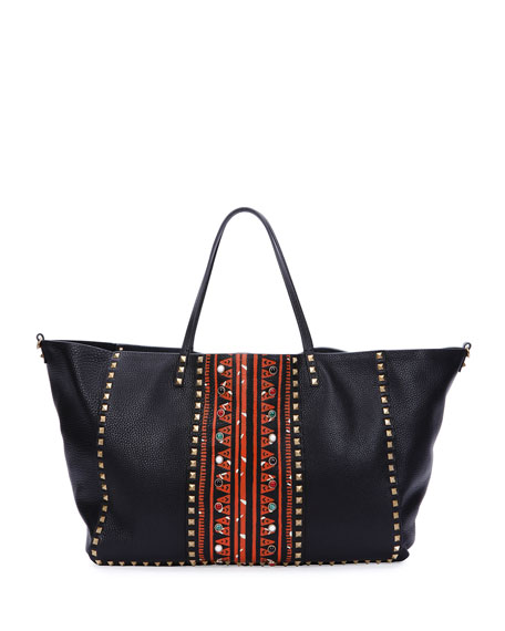 Valentino Large Painted Rockstud Tote Bag, Black