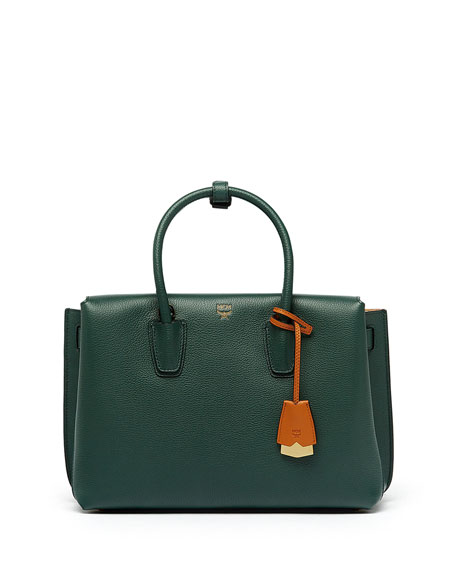 Milla Medium Leather Tote Bag, Forest Green