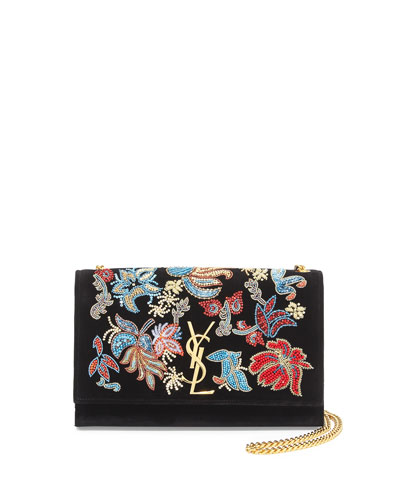 Monogram Sequin Flower Rock Flap Wallet-on-a-Chain, Black/Multi