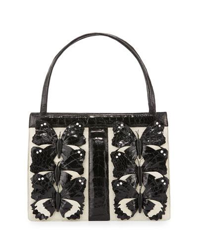 Crocodile Medium Butterfly Striped Frame Bag, Cream/Black