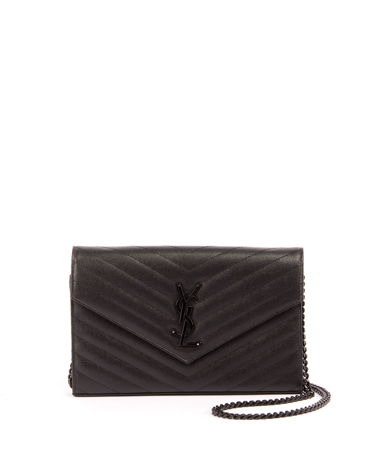 2040601fa53 Saint Laurent Monogram YSL Small Matelasse Envelope Chain Wallet, Black