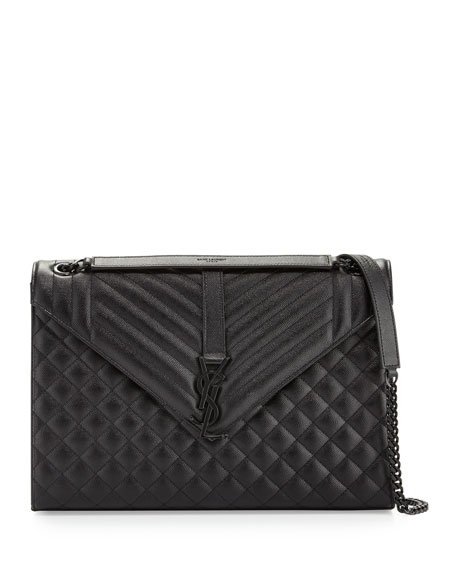 Monogram Large Chain Tri-Quilt Shoulder Bag, Black