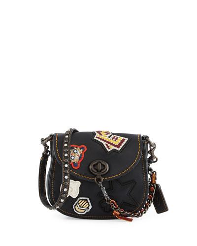 17 Varsity-Patch Leather Saddle Bag, Black