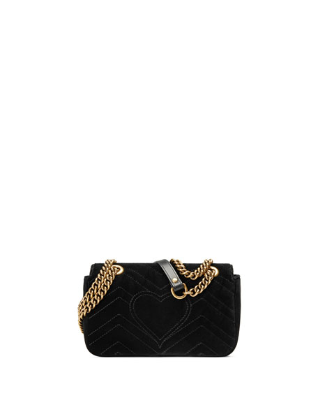 Gucci GG Marmont Mini Quilted Velvet Crossbody Bag, Black
